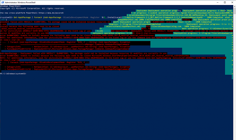 """Windows """"settings"""" not displaying properly. Close on System. Can't use-appxpackage-error.png"""