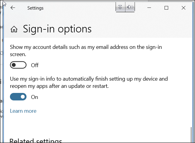 Reopen Apps after restart sign-in options missing in Privacy settings-1.png