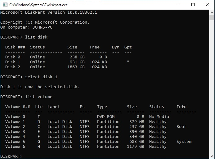 Windows 10 build with tangled HDD allocations-diskpart-list.jpg