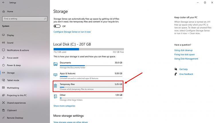 Storage - Temporary files = C:Windows ...