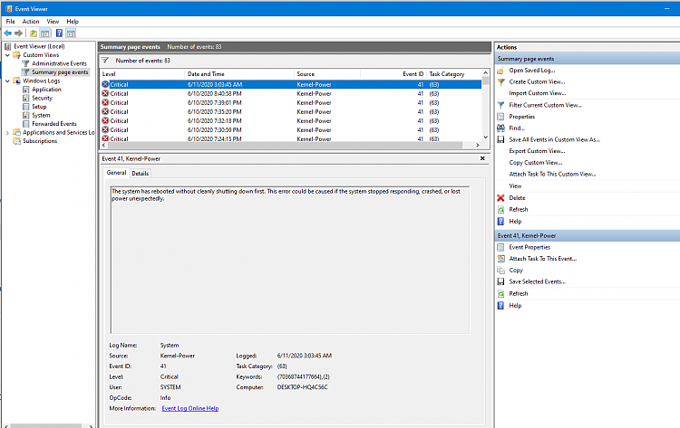Event viewer shows Critical about Kernel-Power-powererror.png