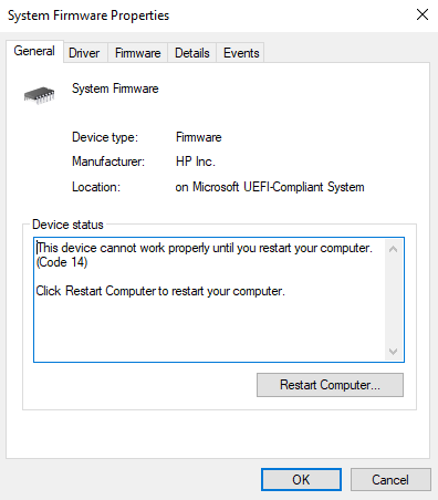 pc needs to be restarted to finish system firmware