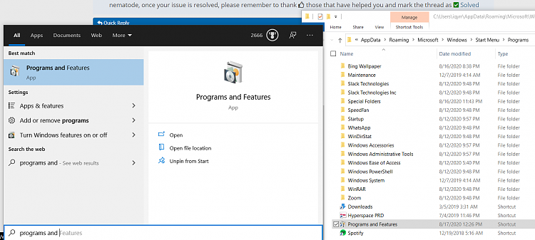 """Windows Search Can't find """"Programs and Features',"""" and other items.-win.png"""