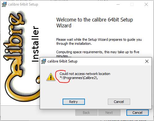 Installing Win10 update break all registry paths of executables-calibreerror.png