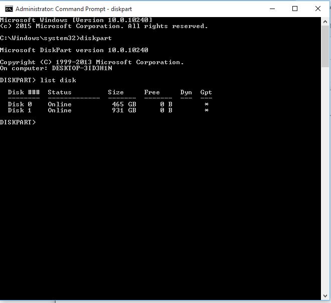 Click image for larger version.  Name:2 diskpart list disk.PNG Views:62 Size:12.3 KB ID:31911