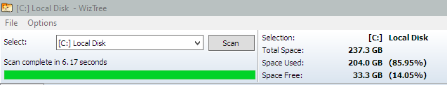 Messed up installing Fences software, now have lost 23GB of SSD-wiztree-space-1.png