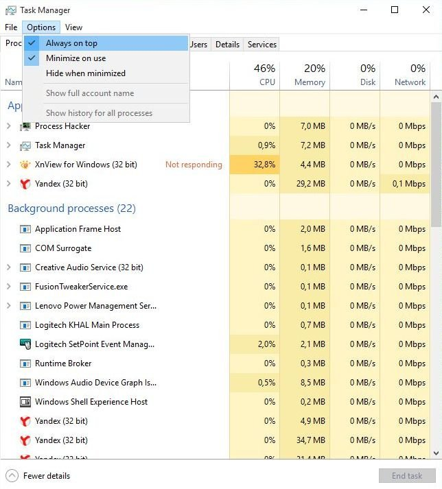Not able to use Task Manager to end frozen programs