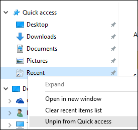 how to clear recent files on windows 10 quick access