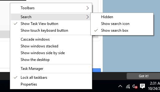 Change Windows Search Box Size In Windows 10 Tool Bar