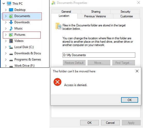 Unable to move location of My Documents or My Pictures ...