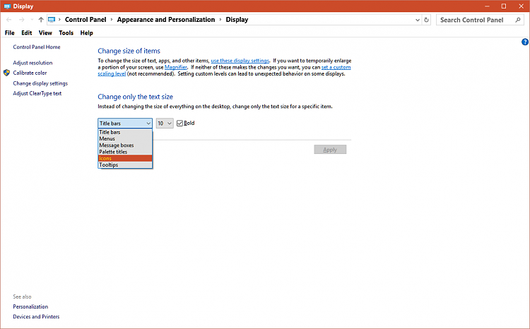 change desktop icon font windows 10
