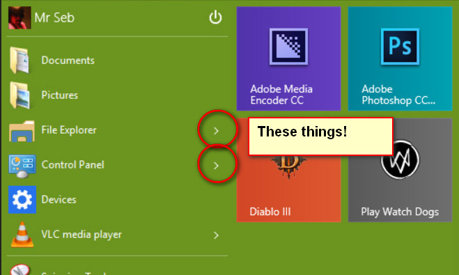 How do I get flyouts to show on start menu items?-2014-10-03_231657.jpg