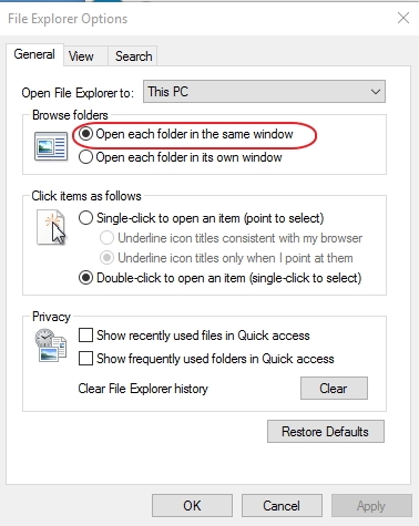 Click image for larger version.  Name:File Explorer options...... open in same window.jpg Views:23 Size:115.7 KB ID:65603