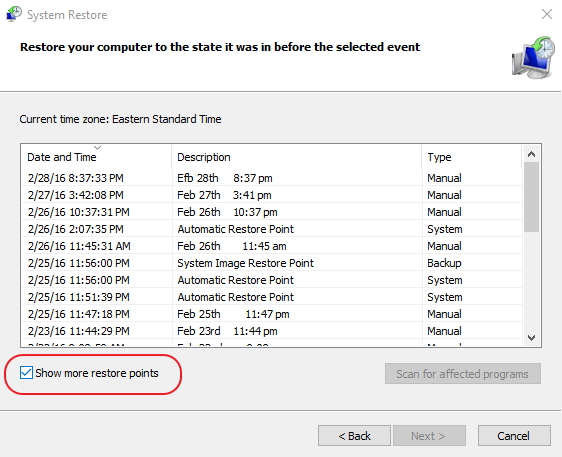 Click image for larger version.  Name:system restore.... show more restore points.jpg Views:19 Size:166.8 KB ID:66942