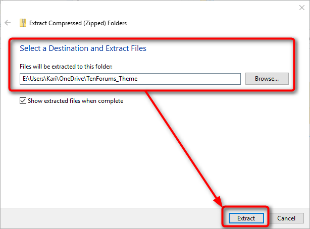 extract zip file win 10