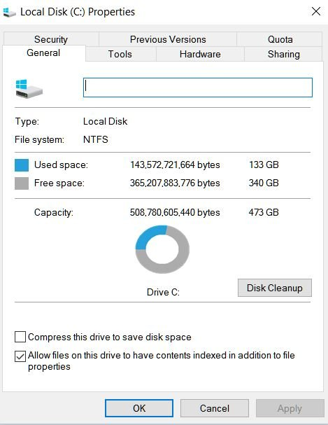 Image result for windows 10 disk space