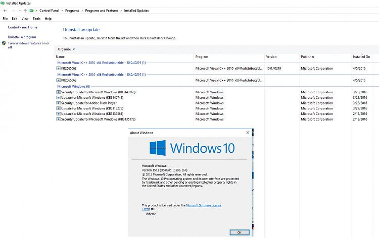 Click image for larger version.  Name:Windows updates and winver 04-28-16.jpg Views:17 Size:232.2 KB ID:77275