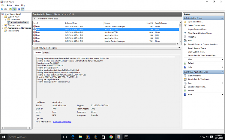Click image for larger version.  Name:Event viewer-Explorerexe.png Views:6 Size:101.9 KB ID:86209