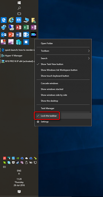 quick launch: how to reorder icons - Windows 10 Forums
