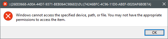 Settings links broken-err1.png