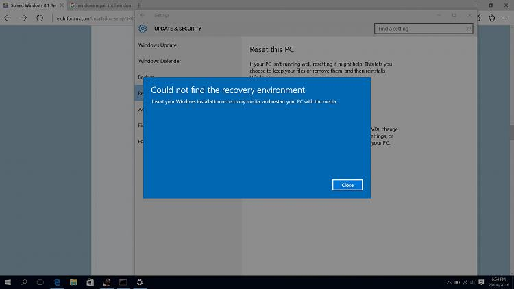Can't find recovery environment windows 10 - Windows 10 Forums