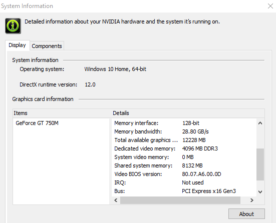 Laptop NVIDIA GeForce Card - Dedicated Memory - Windows 10 Forums
