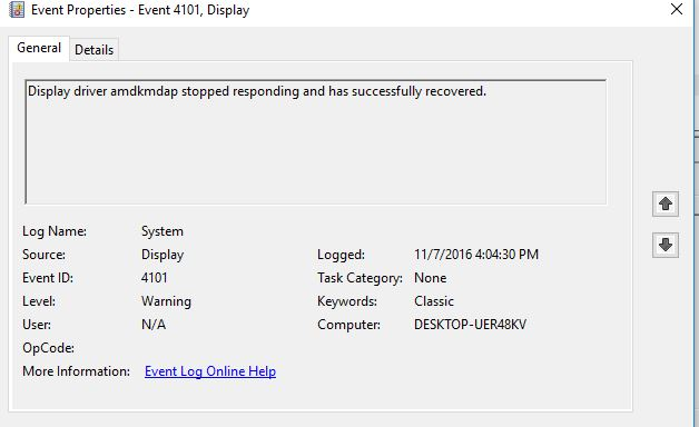 Display driver stopped responding and has recovered - AMD - Windows