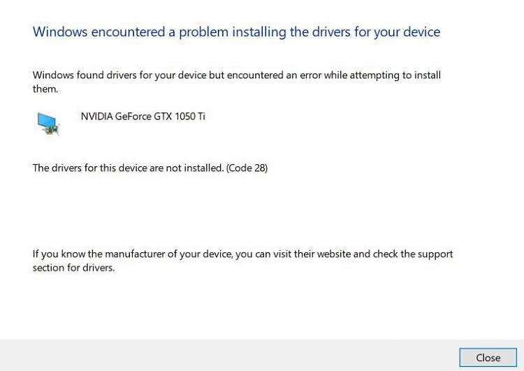 Nvidia Driver Installation Failed - Windows 10 Forums