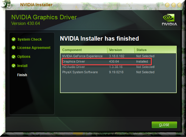 Click image for larger version.  Name:NVIDIA Graphic Driver Successfully installed Version 430.64.png Views:115 Size:158.0 KB ID:233211