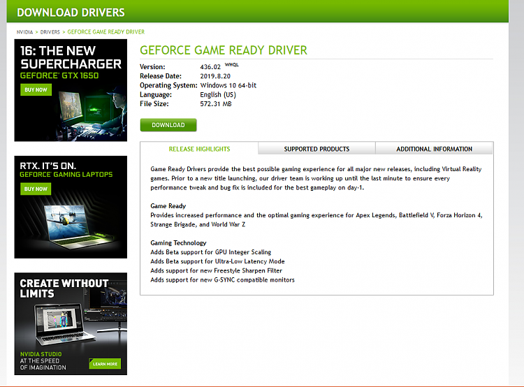 Latest NVIDIA GeForce Graphics Drivers for Windows 10 - Page