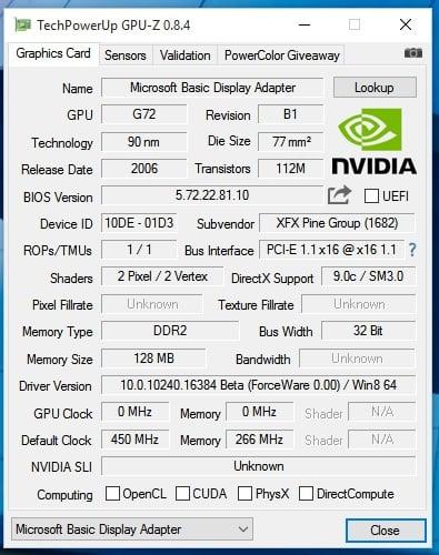 pilote nvidia geforce 7300 se/7200 gs