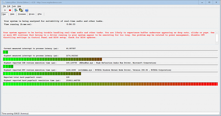 Audio crackling due to nvlddmkm sys Nvidia driver latency