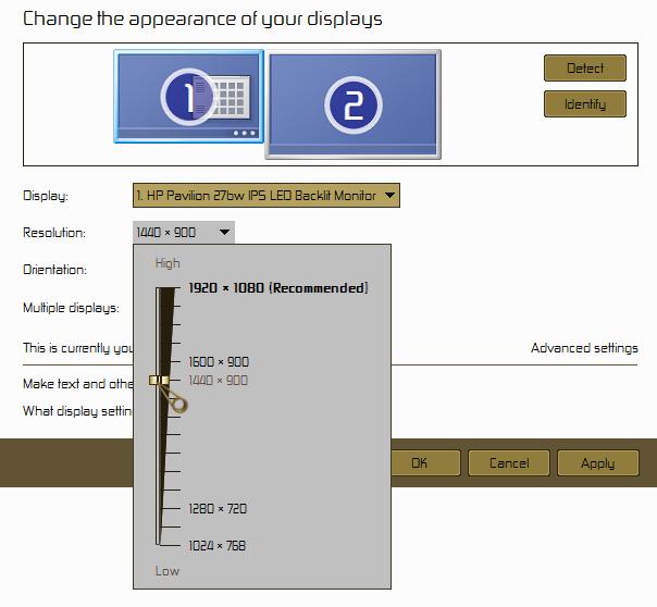 how to change resolution windows ten