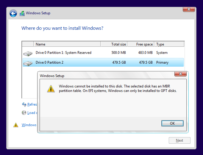 Click image for larger version.  Name:The selected disk has an MBR partition table.png Views:4 Size:37.5 KB ID:100264