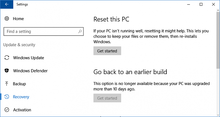 how to manually reset windows 10