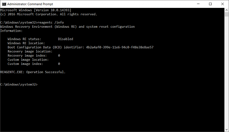 Factory Image Restore Option Missing After BCDEDIT Windows 10 Home 64-reagent.png