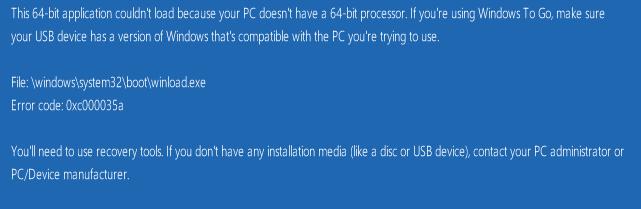 Windows 10 (V:9926) Hangs On Install (MS Virtual PC)-64-bit-iso-error.png