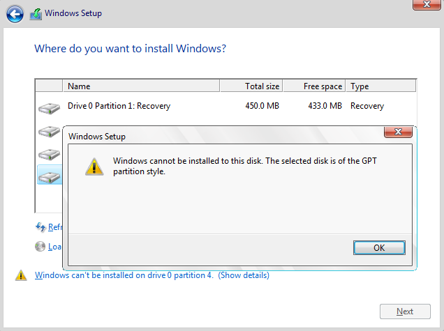 Click image for larger version.  Name:Windows cannot be installed to this disk. The selected disk is of the GPT partition style.png Views:170 Size:37.2 KB ID:113956