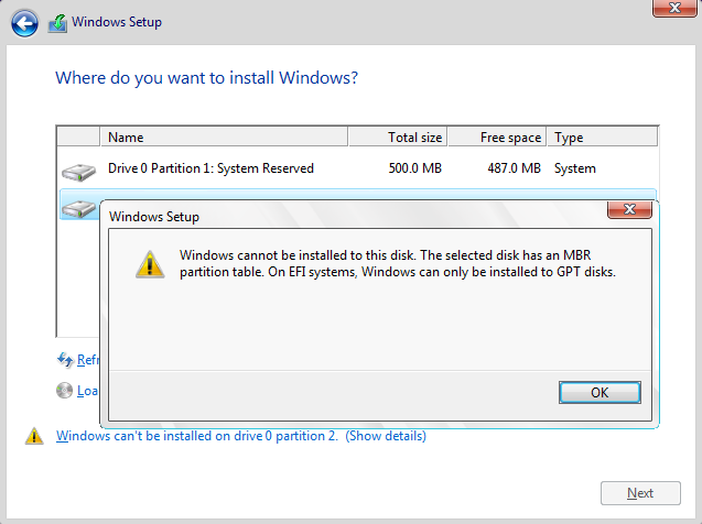 Click image for larger version.  Name:Windows cannot be installed to this disk. The selected disk has an MBR partition table.png Views:170 Size:36.1 KB ID:113957