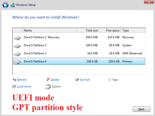 Click image for larger version.  Name:UEFI mode - GPT partition style.png Views:127 Size:35.6 KB ID:114641