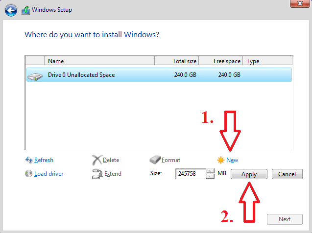 Cant install Windows 10 because of GPT partition error message-select-new-apply-buttons.png