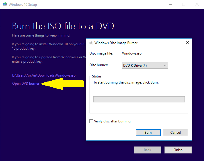 windows 10 iso burner usb