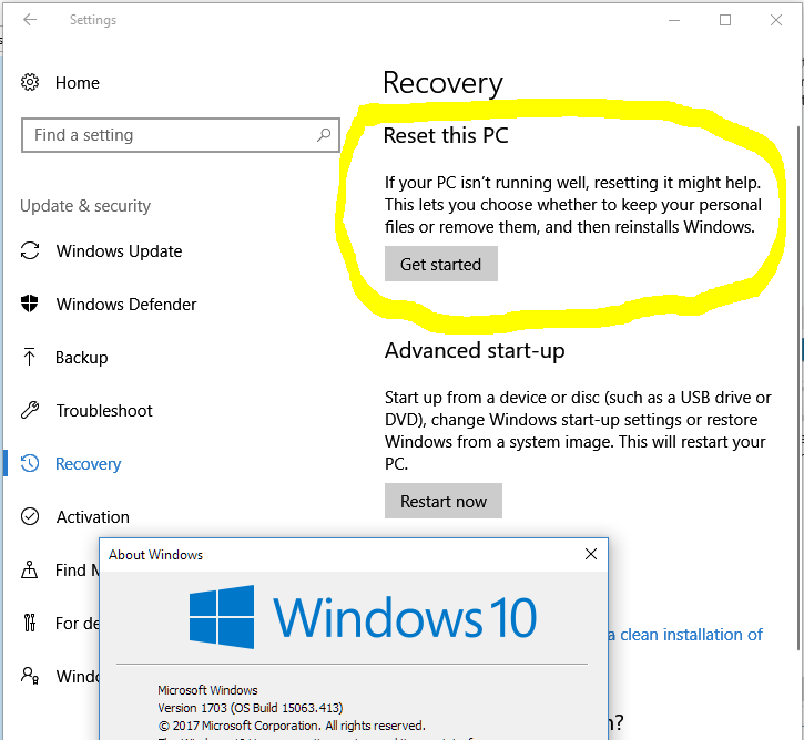 How to reset Windows 10 that has Creator Update removing
