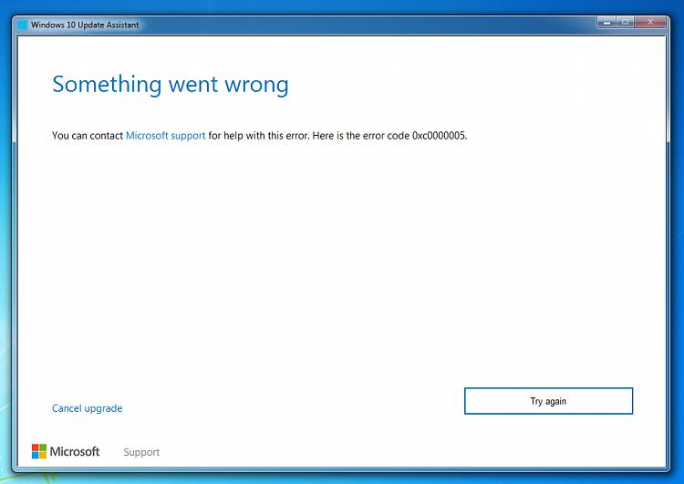 Upgrading from windows 7 to windows 10 error 0xc0000005 - Windows 10