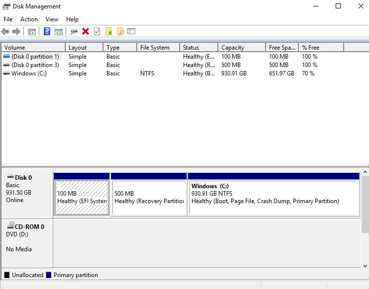 Click image for larger version.  Name:Disk Management Screeenshot.PNG Views:24 Size:27.5 KB ID:169767