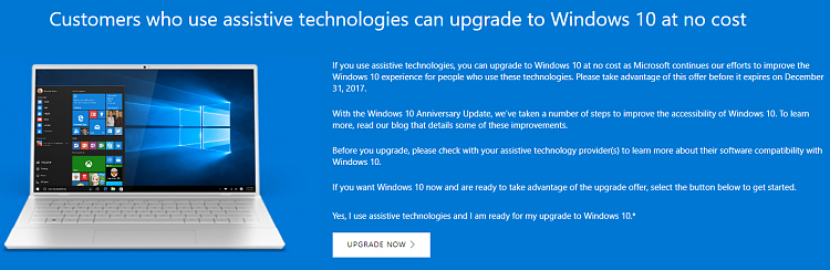 windows 10 accessibility upgrade 2017