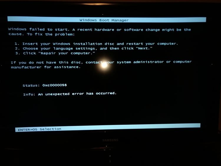 New installation fails with unexpected error 0xc0000098 Solved