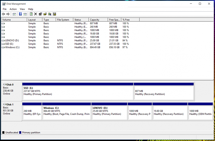 Can the OEM Recovery partition be left on Disk 1 and OS on