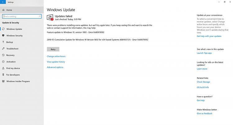 windows update avast 1803
