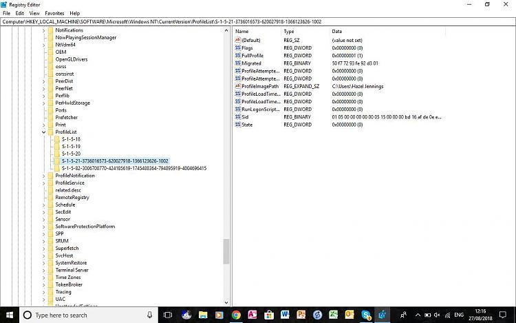ProfileImagePath has suffix  000 after Build 1803 - Windows